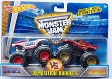Hot Wheels Monster Jam Truck CAPTAIN AMERICA vs IRON MAN Double Rare UK !!