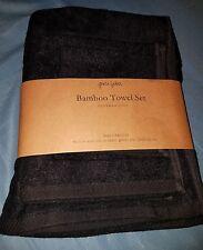 Pure Fiber 3-Piece Viscose from Bamboo Bath Towel Set, Black