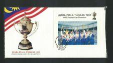 MBC17) Malaysia 1992 Juara Piala Thomas Cup Minisheet FDC