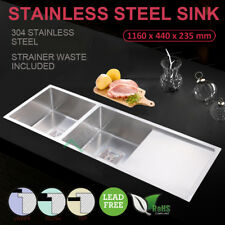 Stainless Steel Under/Top Mount Double Bowls Square Waste Laundry Kitchen Sink