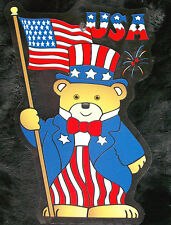 Patriotic Symbol USA AMERICAN FLAG & UNCLE SAM BEAR * Suction Cup Window Sign