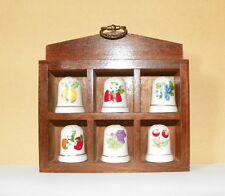 Rarität - 6 Fingerhüte Porzellan Früchte mit Echtholz-Setzkasten / Sammlerstücke