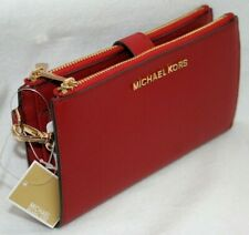 Michael Kors Saffiano Leather Double Zip Phone Case Wallet Wristlet Scarlet Red