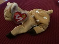TY Original Beanie Baby WHISPER Fawn Deer 6 New w Tag Protector Mint Retired