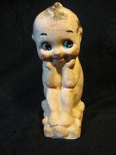 "Antique Chalkware/Bisque Kewpie Doll ""TheThinker"" 6 1/2"""