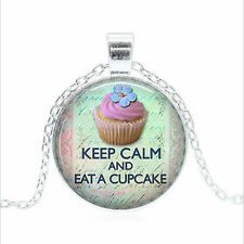 Keep Calm and Eat a Tibet silver Glass dome Necklace chain Pendant Wholesale