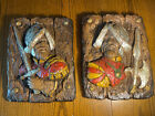 1968 Pair of 16th c. Spanish Conquistador Wall Plaques by Universal Statuary EUC