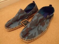NEW REPLAY BLUE CAMOUFLAGE ESPADRILLES SLIP ON CASUAL LOAFER SHOES UK 10 EU 44
