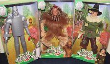 Set of 3 Wizard of Oz 75th Anniv Cowardly Lion Scarecrow Tin Man NIB Barbie Ken