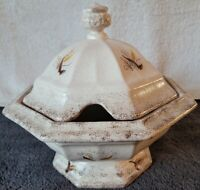 Vintage Glazed Ironstone Footed, Covered Soup/Vegetable Tureen RARE
