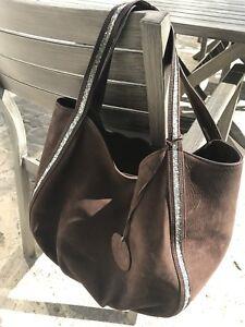 "sac à main Renouard modèle ""rock n roll"" grand modèle, cuir nubuck chocolat"