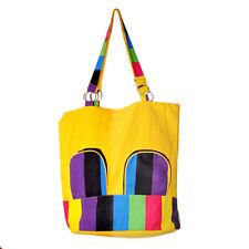 Women Casual Handbag - Yellow Cotton
