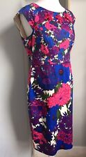 PHASE EIGHT Bright Pink Blue Floral Dress Size 14 Gem Detail Summer Party Event