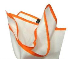 FAZZOLETTO DA TASCHINO bianco POCHETTE SETA UOMO bianca bordo arancio orange ITA