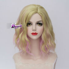 Lolita Pink Mixed Blonde Lady Curly Heat Resistant Hair Harajuku Cosplay Wig