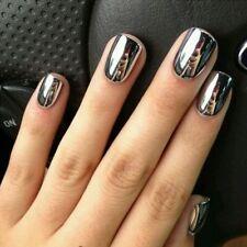 Fashion 2pc/lot 6ml Silver Mirror Effect Metal Nail Polish Varnish Set Trend AU