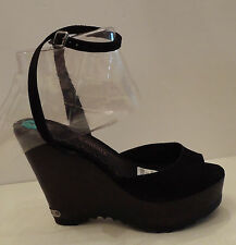 NWT Juicy Couture Black Suede Platform Wedge Ankle Strap Sandals 8M