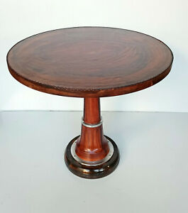 Round Leather Wrapped Stitched Table Coffee Tea Kitchen Dining Cafe Brown Table