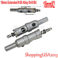2 Pcs18mm Carbide Tip Long TCT Alloy Drill Bits Hole Saw Cutter Stainless Steel@