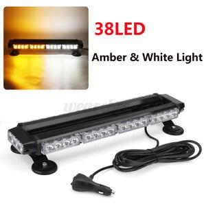 38 LED Emergency Light Bar Roof Strobe Beacon Warning Amber White Flash Top 12V