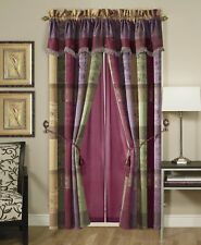 Gitano Jacquard Patchwork Window Curtain/Drape Set with Sheer Backing/Valance