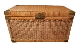 Vintage Wicker Trunk with Brass - Chinoiserie Chest - Large Coffee Table Size