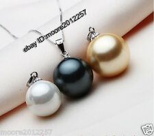 Super RARE Black 12mm Round Sea Shell Pearl Pendant Necklace