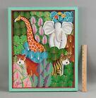 Authentic JOEL GAUTHIER Jungle Animals Acrylic Painting Giraffe Elephant & Tiger