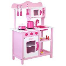 Childrens Girls Pink Wooden Toy Kitchen with 20 piece Accessories Pretent Set