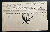 1897 Toronto Canada Postcard Carswell & Co Cover To Barrister NB