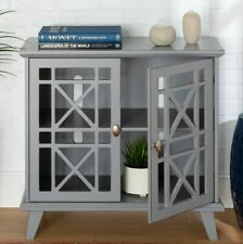 Gray Storage Cabinet / TV Stand  with Open Fretwork Doors (NO GLASS) 32in Wide