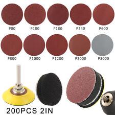 200PCS 50mm Sanding Discs Pads Sander Hook Loop Sandpaper 80-3000 Grits Tools UK