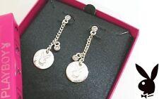 Playboy Earrings Silver Plated Jewelry Stud Swarovski Crystal Logo Dangle Bunny