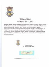 William NICHOL ST MIRREN 1934-1935 RARE mano originale firmato TAGLIO / CARD