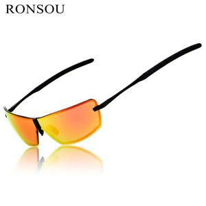 Ronsou Mens Rimless Aluminium-Magnesium Polarized Sunglasses For Driving Fishing