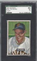 1951 Bowman baseball card #308 Ted Beard, Pittsburgh Pirates graded SGC 84 NM 7