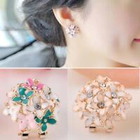 Women Lady Fashion Elegant Crystal Clover Rhinestone Ear Stud Earrings 1 Pair GA