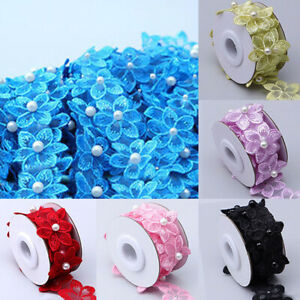 1 Roll Wedding Craft Flower DIY Pearl Lace Embroidered Ribbon Clothing Sewing