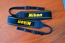 Genuine NIKON Camera Neck Strap Black with Yellow Logo for DSLR Authentic, OEM