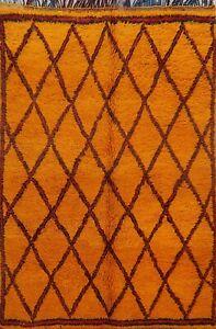 Vintage Authentic Moroccan Berber Vegetable Dye Area Rug Handmade Plush Wool 6x8