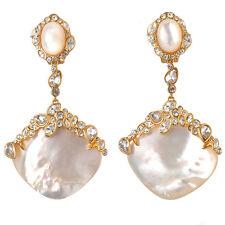De Buman 18k Yellow Gold Plated Mother of Pearl & Czech Clip-on Elegant Earrings