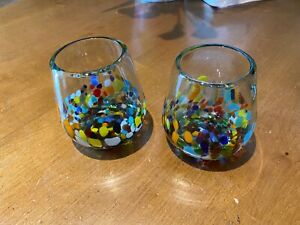 Mexican Hand Blown Confetti Set of 2 Stemless Wine Glasses by GlobIn