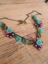 Art Deco /pre Raphaelites Style BOUQUET Vintage glass flower necklace