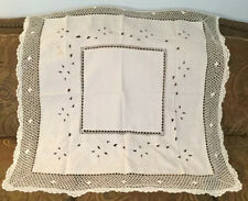 """VINTAGE TABLECLOTH ECRU WITH LEAVES & CUTOUT & LOTS OF CROCHET 40"""" X 41"""""""