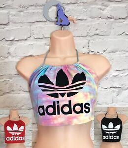 Adidas Originals Handmade Crop Top Halterneck