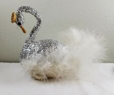 Vintage Charles Gregor Surprise Toy Glitter Swan with Hidden Tiny Toys Inside!