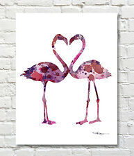 Flamingos Abstract Watercolor Painting Art Print by Artist DJ Rogers