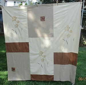 FAUX LEATHER LOOK SHOWER CURTAIN WITH EMBROIDERED FLOWERS & DESIGNS