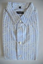 JOSEPH BLUE COTTON FLORAL & STRIPED FITTED SHIRT - DRY CLEANED - XL / 16.5 / 42
