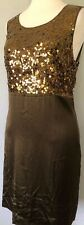 **12* DKNY 100% silk stretch Empire Waist Sequined Dress Gown Tunic Tank Top Tee